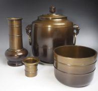 【茶道具買取】金森昭栄造 唐銅皆具 買取しました。